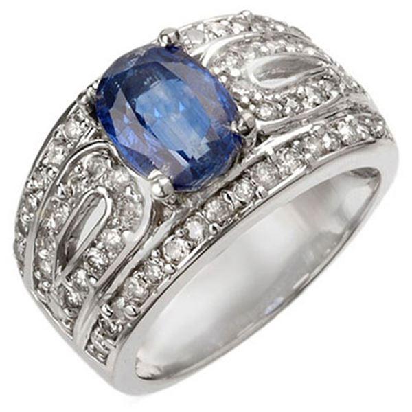 3.54 ctw Kaynite & Diamond Ring 14k White Gold - REF-136K4Y