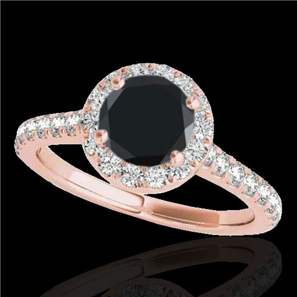 1.70 ctw Certified VS Black Diamond Solitaire Halo Ring 10k Rose Gold - REF-53G9W