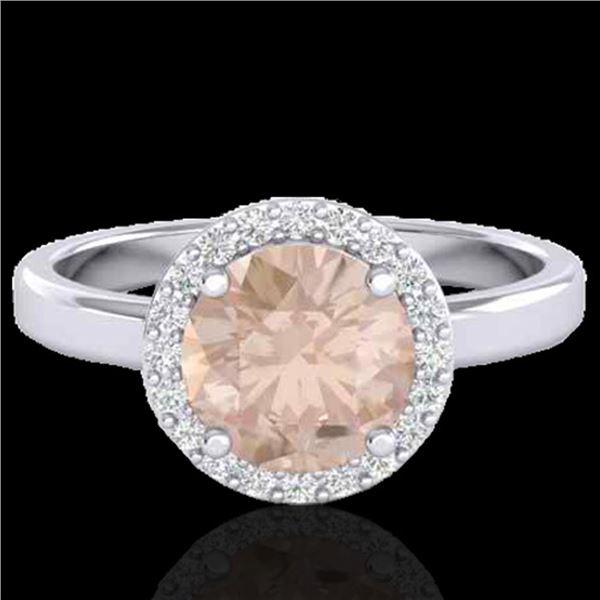 1.50 ctw Morganite & Halo VS/SI Diamond Micro Ring 18k White Gold - REF-46N9F