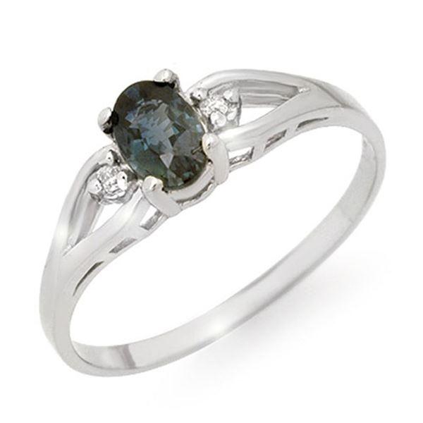 0.52 ctw Blue Sapphire & Diamond Ring 18k White Gold - REF-13N4F