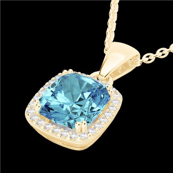 3.50 ctw Sky Blue Topaz & Micro VS/SI Diamond Necklace 18k Yellow Gold - REF-40R2K