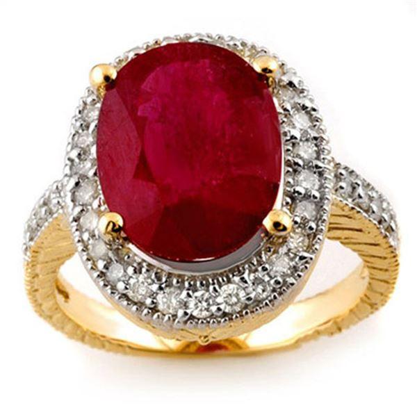 8.0 ctw Ruby & Diamond Ring 14k Yellow Gold - REF-92G4W