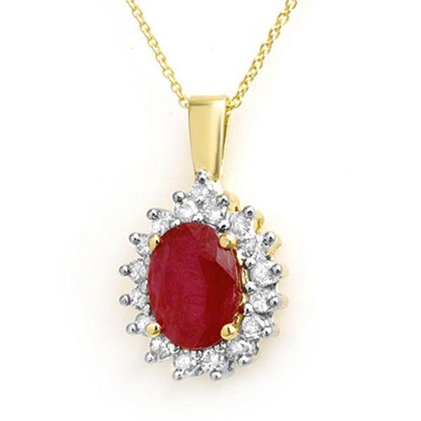 3.70 ctw Ruby & Diamond Pendant 14k Yellow Gold - REF-55N2F