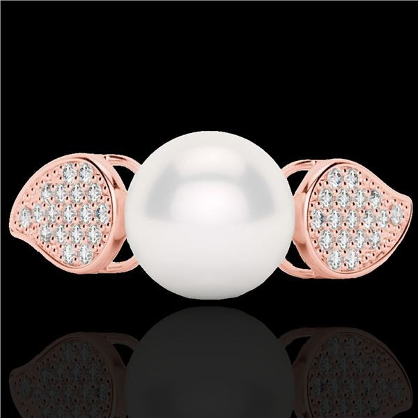 0.27 ctw Micro Pave VS/SI Diamond & Pearl Designer Ring 14k Rose Gold - REF-38H2R
