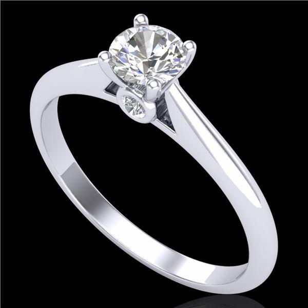 0.4 ctw VS/SI Diamond Solitaire Art Deco Ring 18k White Gold - REF-51M5G