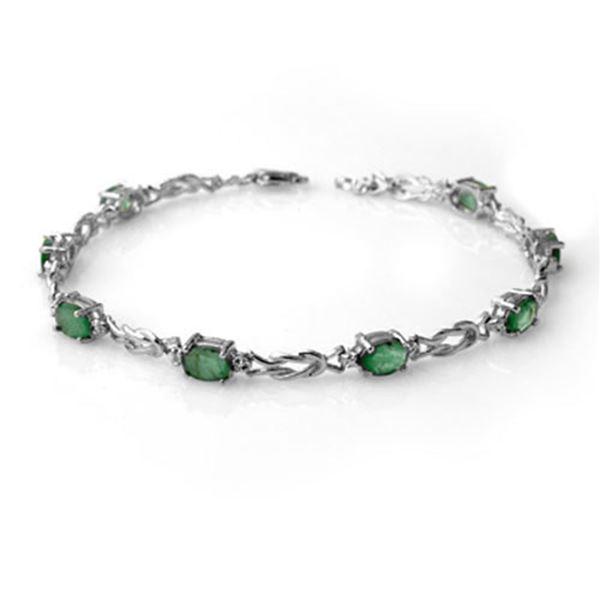 4.11 ctw Emerald & Diamond Bracelet 14k White Gold - REF-51M4G