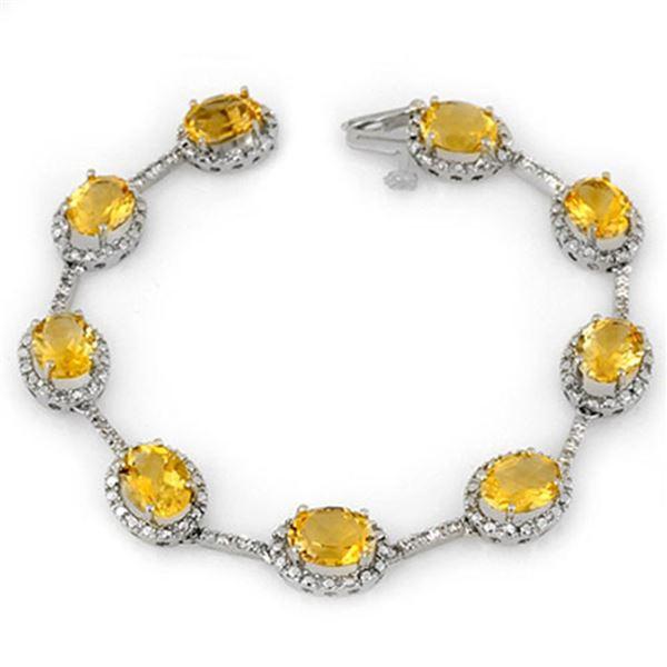 16.33 ctw Citrine & Diamond Bracelet 14k White Gold - REF-119F6M