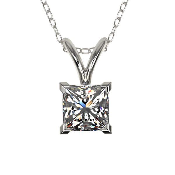 0.50 ctw Certified VS/SI Quality Princess Diamond Necklace 10k White Gold - REF-65H2R