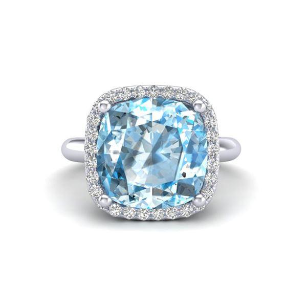 6 ctw Sky Blue Topaz & Micro Pave VS/SI Diamond Ring 18k White Gold - REF-49G3W