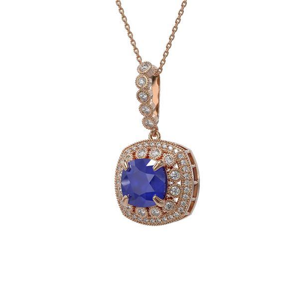 6.58 ctw Sapphire & Diamond Victorian Necklace 14K Rose Gold - REF-209G3W