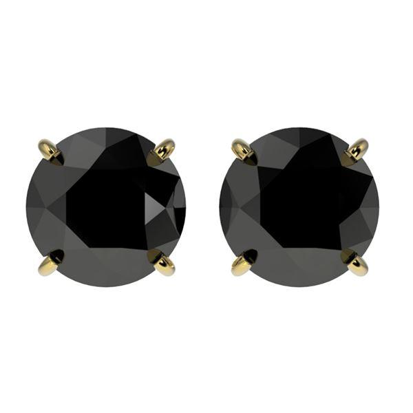 2.13 ctw Fancy Black Diamond Solitaire Stud Earrings 10k Yellow Gold - REF-35H6R