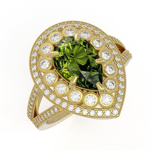 5.02 ctw Certified Tourmaline & Diamond Victorian Ring 14K Yellow Gold - REF-172N8F