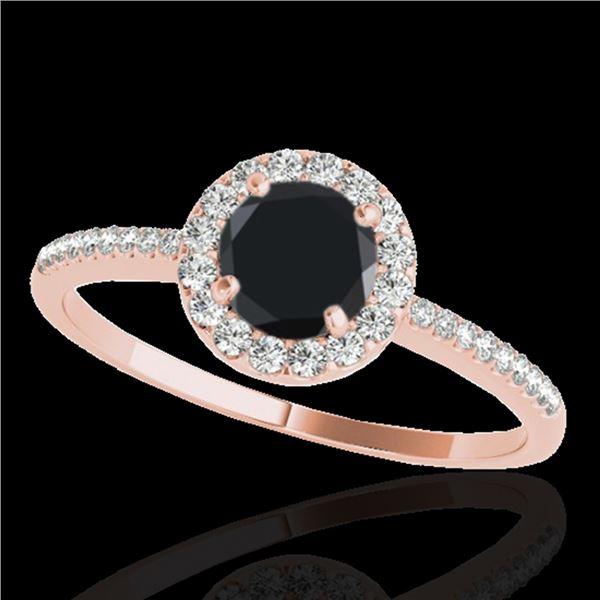 1.2 ctw Certified VS Black Diamond Solitaire Halo Ring 10k Rose Gold - REF-36M8G