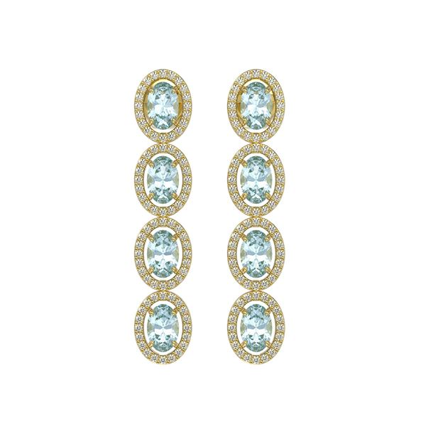 4.68 ctw Aquamarine & Diamond Micro Pave Halo Earrings 10k Yellow Gold - REF-143R6K