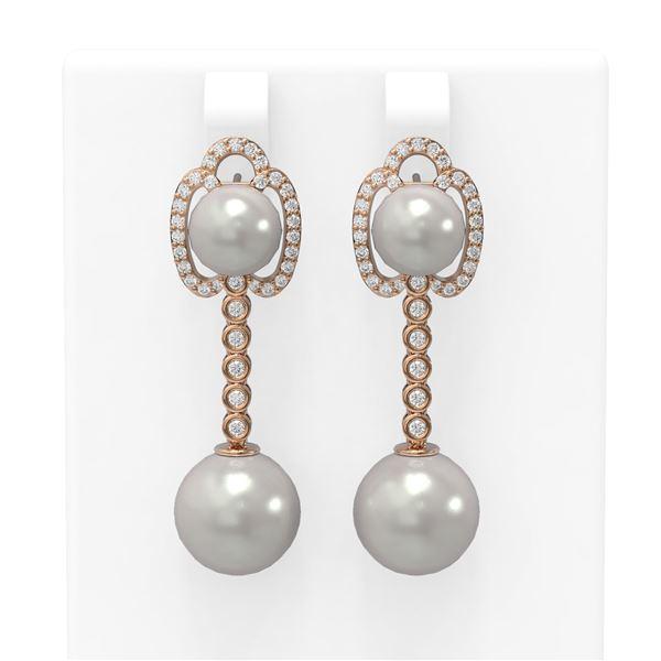 0.63 ctw Diamond & Pearl Earrings 18K Rose Gold - REF-119H8R