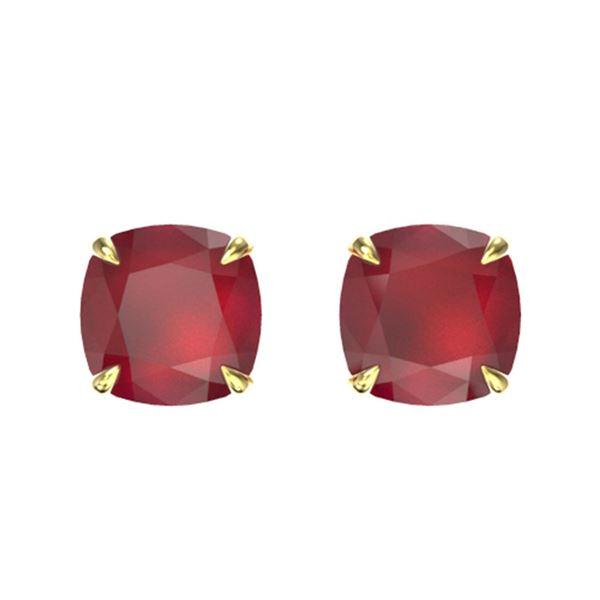 4 ctw Cushion Cut Ruby Designer Stud Earrings 18k Yellow Gold - REF-40H9R