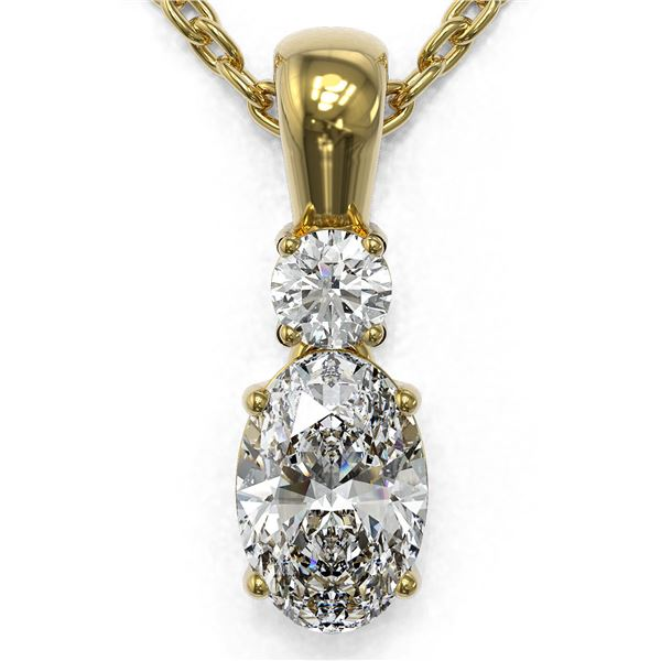 0.6 ctw Oval Cut Diamond Designer Necklace 18K Yellow Gold - REF-89N6F