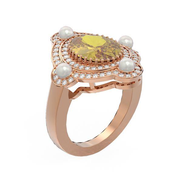 4.18 ctw Canary Citrine & Diamond Ring 18K Rose Gold - REF-161M8G