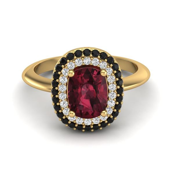 2.50 ctw Garnet With Black & White Micro Diamond Ring 14k Yellow Gold - REF-49K5Y