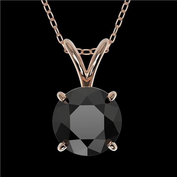 1 ctw Fancy Black Diamond Solitaire Necklace 10k Rose Gold - REF-21F5M
