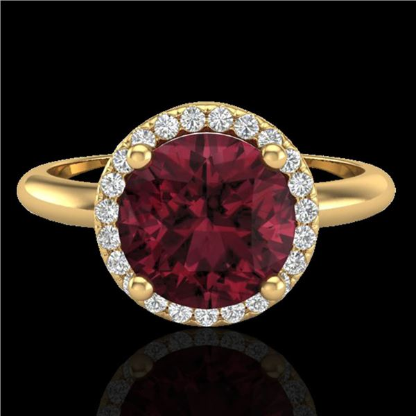 2.70 ctw Garnet & Micro Pave VS/SI Diamond Ring 18k Yellow Gold - REF-38Y2X
