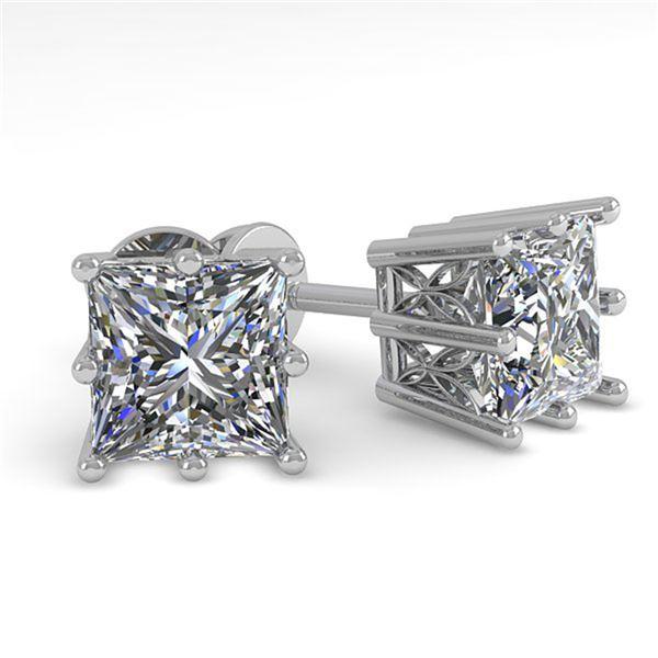 1.0 ctw VS/SI Princess Diamond Stud Earrings 18k White Gold - REF-147A2N