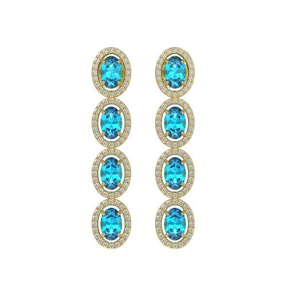 6.28 ctw Swiss Topaz & Diamond Micro Pave Halo Earrings 10k Yellow Gold - REF-143K6Y