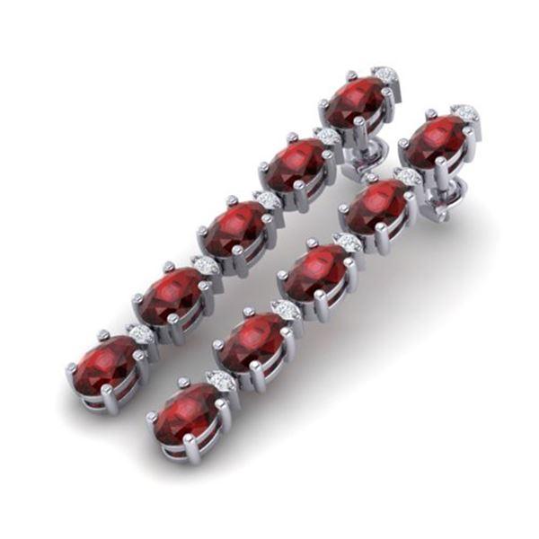 10.36 ctw Garnet & VS/SI Certified Diamond Tennis Earrings 10k White Gold - REF-47H9R