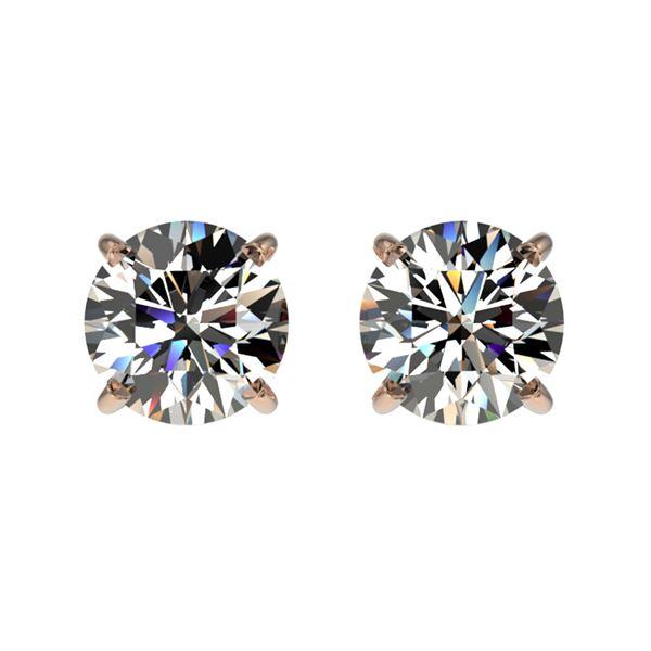 1.02 ctw Certified Quality Diamond Stud Earrings 10k Rose Gold - REF-72X3A
