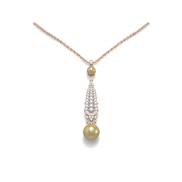1.6 ctw Diamond & Pearl Necklace 18K Rose Gold - REF-160Y2X