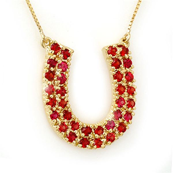 2.0 ctw Red Sapphire Necklace 10k Yellow Gold - REF-36F6M