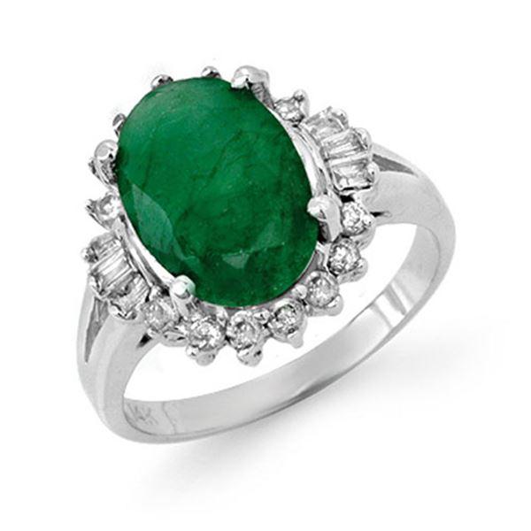 3.39 ctw Emerald & Diamond Ring 14k White Gold - REF-83M6G