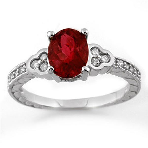 2.27 ctw Rubellite & Diamond Ring 14k White Gold - REF-53W5H