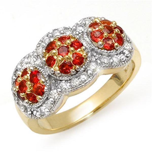1.50 ctw Red Sapphire & Diamond Ring 14k Yellow Gold - REF-76X2A