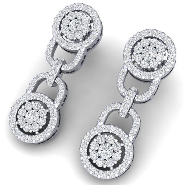 2.30 ctw Certified SI/I Diamond Halo Earrings 18K White Gold - REF-148N5F