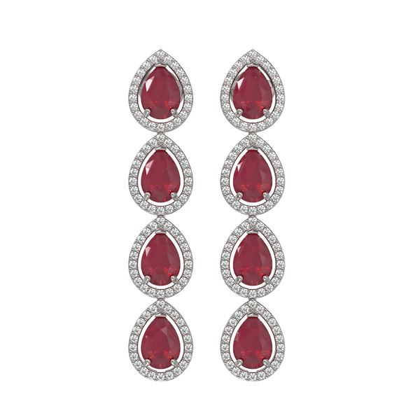 10.2 ctw Ruby & Diamond Micro Pave Halo Earrings 10k White Gold - REF-155H5R
