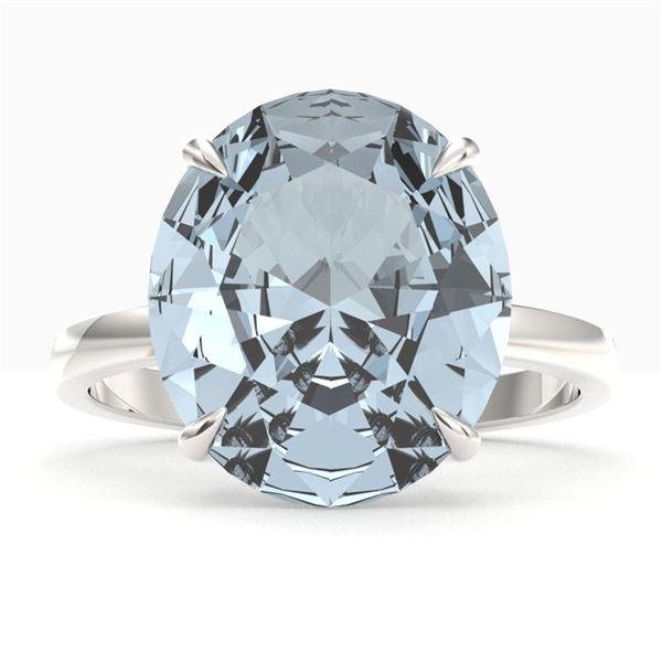 9 ctw Sky Blue Topaz Designer Engagment Ring 18k White Gold - REF-46F4M