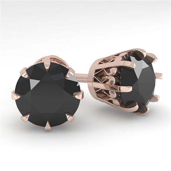 4.0 ctw Black Diamond Stud Solitaire Earrings Vintage 18k Rose Gold - REF-127X5A