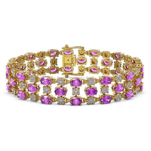 12.7 ctw Amethyst & Diamond Row Bracelet 10K Yellow Gold - REF-209H3R