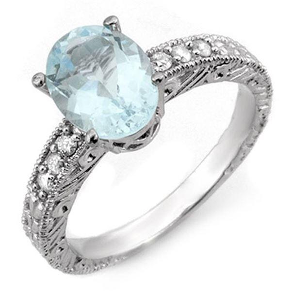 2.43 ctw Aquamarine & Diamond Ring 14k White Gold - REF-55G2W