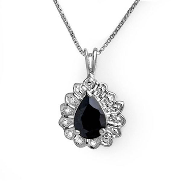 1.10 ctw Blue Sapphire Pendant 18k White Gold - REF-14A3N