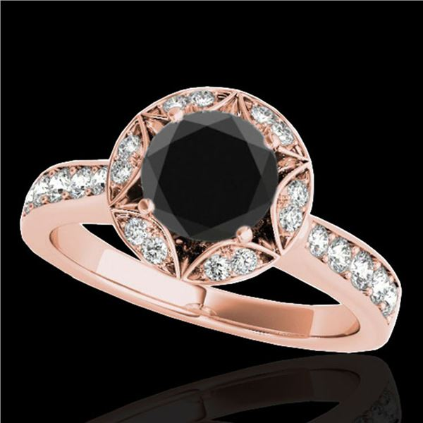 1.5 ctw Certified VS Black Diamond Solitaire Halo Ring 10k Rose Gold - REF-53W2H