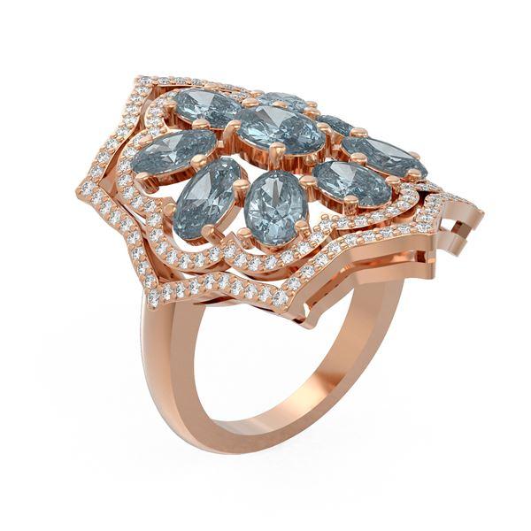 5.36 ctw Blue Topaz & Diamond Ring 18K Rose Gold - REF-169N6F