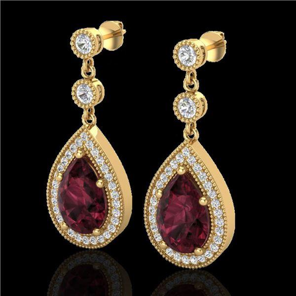4.50 ctw Garnet & Micro Pave VS/SI Diamond Earrings 18k Yellow Gold - REF-51F8M