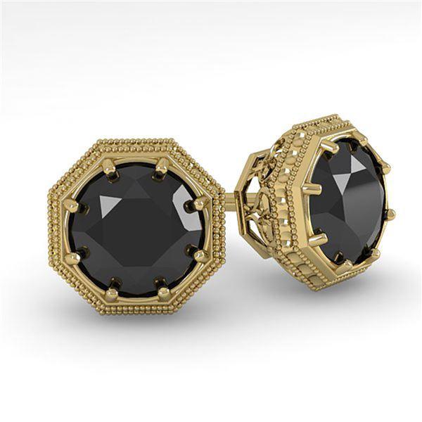 1.0 ctw Black Diamond Stud Solitaire Earrings Art Deco 18k Yellow Gold - REF-40R8K