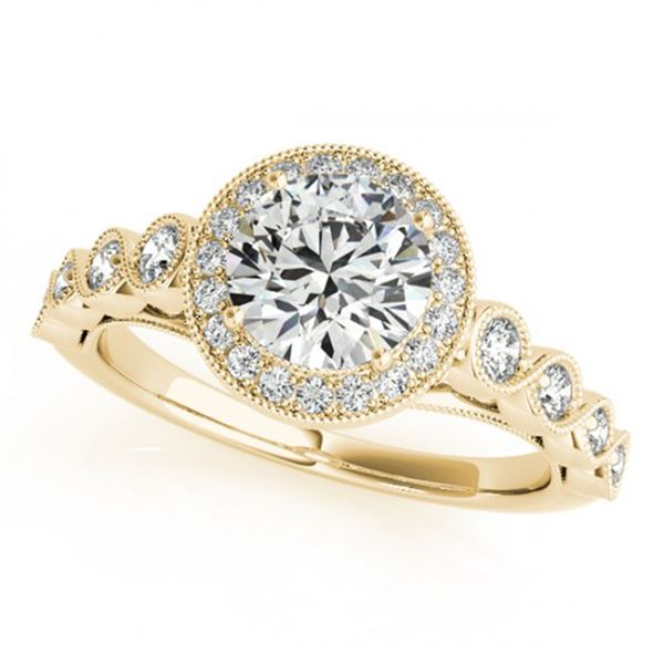 1.05 ctw Certified VS/SI Diamond Halo Ring 18k Yellow Gold - REF-104K2Y
