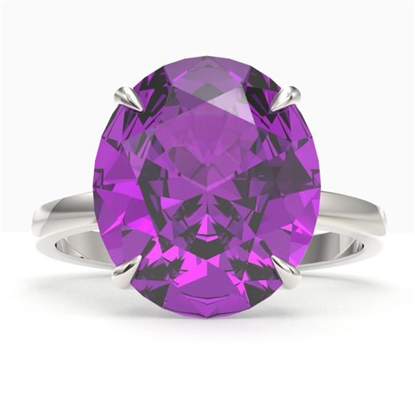9 ctw Amethyst Designer Solitaire Engagment Ring 18k White Gold - REF-39W5H