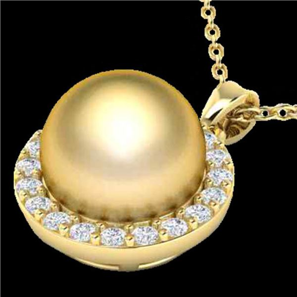 0.25 ctw Micro Pave Diamond & Golden Pearl Necklace 18k Yellow Gold - REF-30N8F