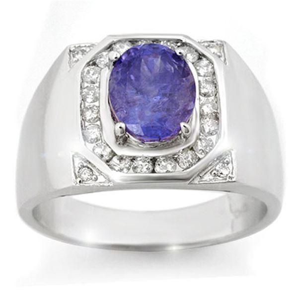 3.10 ctw Tanzanite & Diamond Men's Ring 14k White Gold - REF-119Y5X