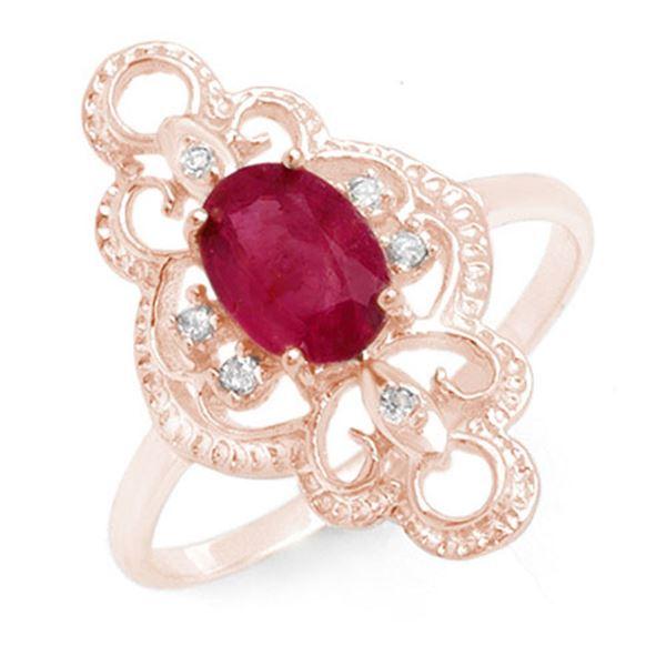1.35 ctw Ruby & Diamond Ring 10k Rose Gold - REF-19F3M